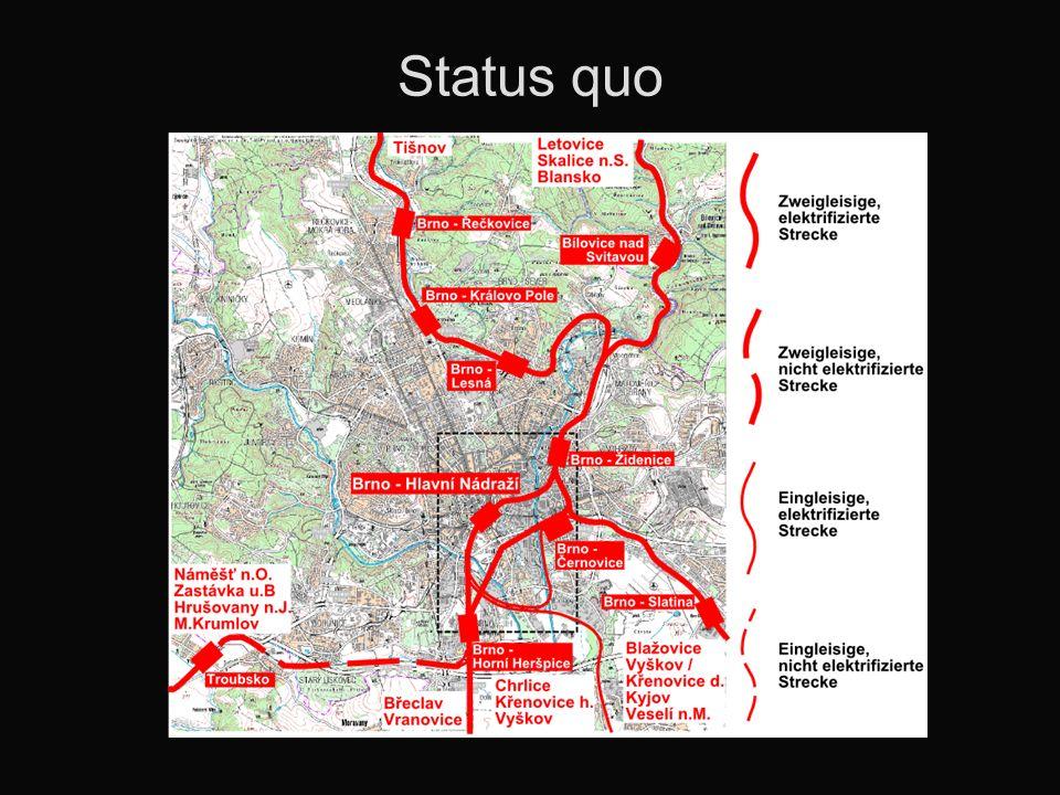 Stadtregionalbahn in Brno Prinzip: Schnell- und Eilzüge konventionell Regionalzüge (Vorortezüge) als Stadtregionalbahn Kapazitäten der Tram-Train- Garnituren ausreichend Kürzere Umläufe, weniger Fahrzeuge nötig