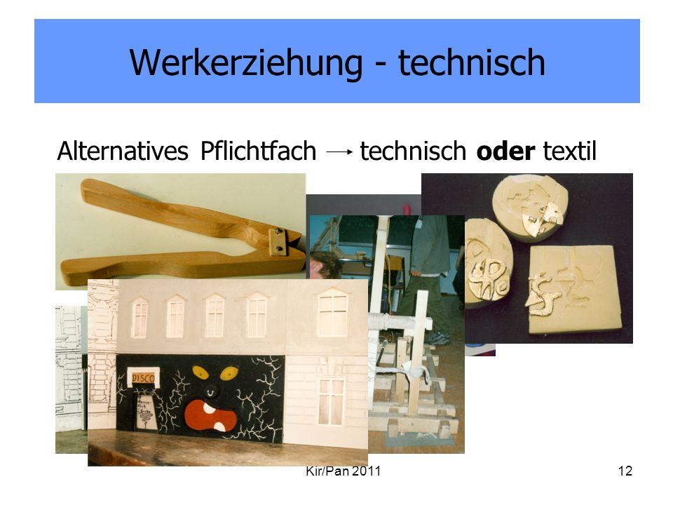Werkerziehung - technisch Kir/Pan 201112 Alternatives Pflichtfach technisch oder textil