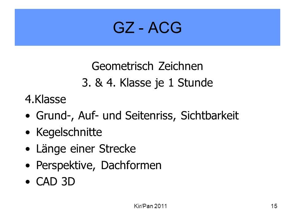 GZ - ACG Kir/Pan 201115 Geometrisch Zeichnen 3. & 4. Klasse je 1 Stunde 4.Klasse Grund-, Auf- und Seitenriss, Sichtbarkeit Kegelschnitte Länge einer S