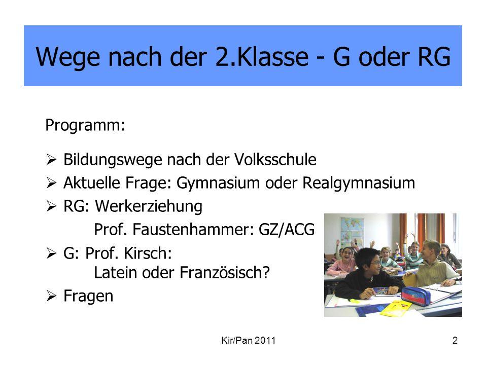 Wege nach der 2.Klasse - G oder RG Programm: Bildungswege nach der Volksschule Aktuelle Frage: Gymnasium oder Realgymnasium RG: Werkerziehung Prof. Fa