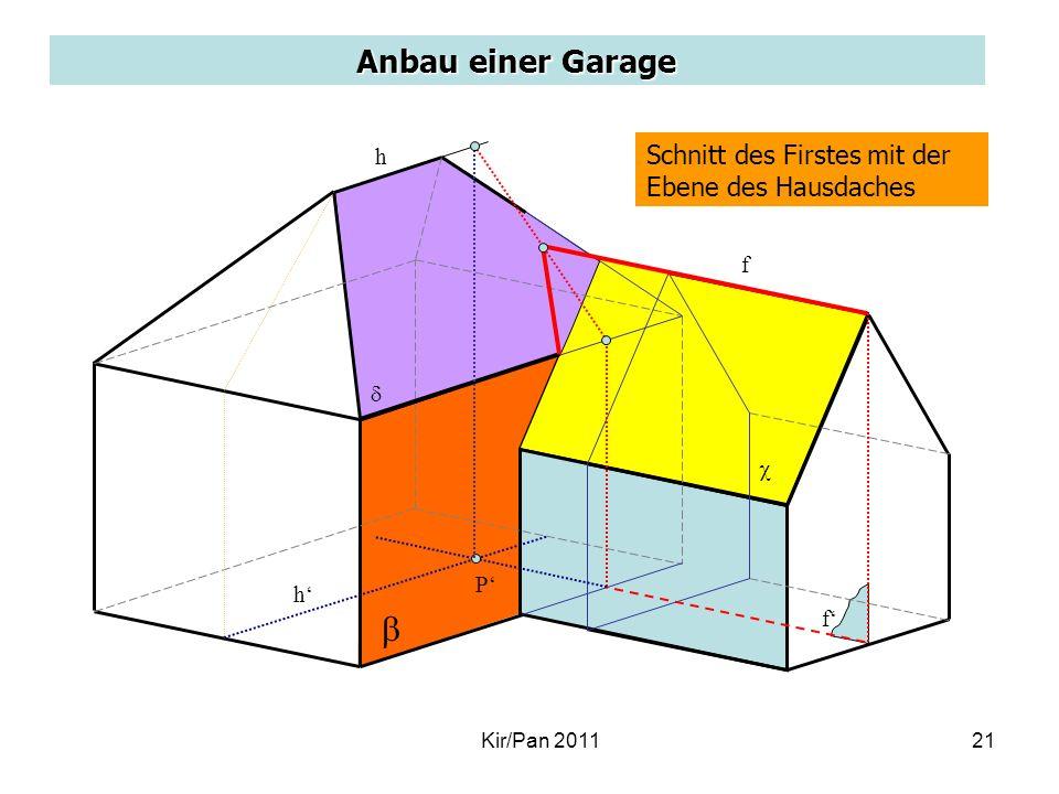 Anbau einer Garage Schnitt des Firstes mit der Ebene des Hausdaches f f h h P Kir/Pan 201121