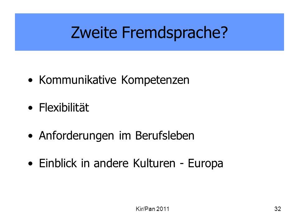 Kommunikative Kompetenzen Flexibilität Anforderungen im Berufsleben Einblick in andere Kulturen - Europa Kir/Pan 201132 Zweite Fremdsprache?