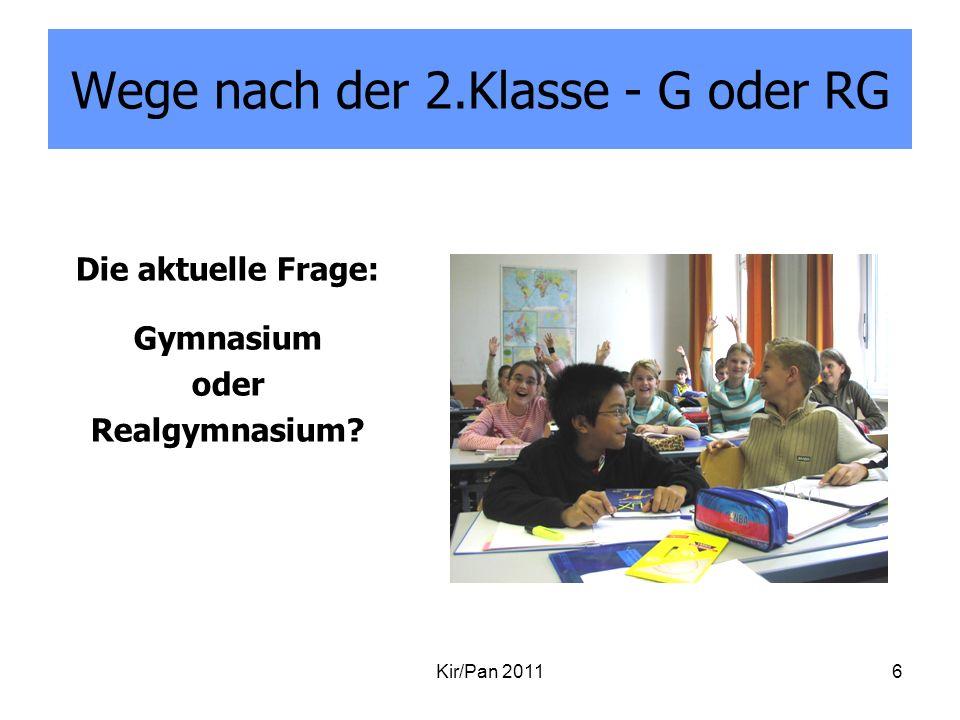 Wege nach der 2.Klasse - G oder RG Die aktuelle Frage: Gymnasium oder Realgymnasium? Kir/Pan 20116