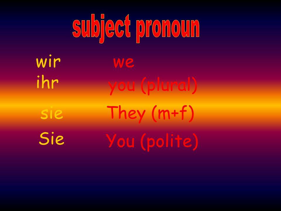 we you (plural) You (polite) ihr wir They (m+f) Sie sie