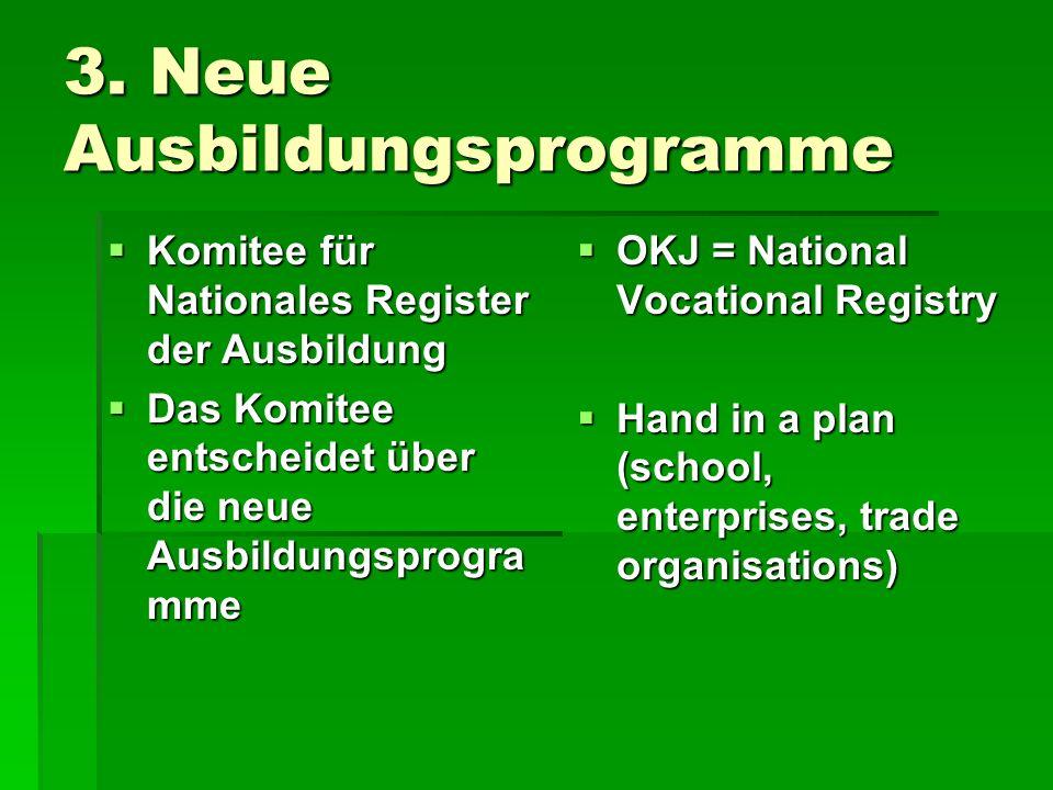 3. Neue Ausbildungsprogramme Komitee für Nationales Register der Ausbildung Komitee für Nationales Register der Ausbildung Das Komitee entscheidet übe