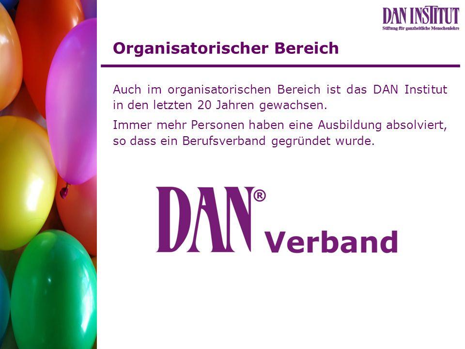 Organisatorischer Bereich Auch im organisatorischen Bereich ist das DAN Institut in den letzten 20 Jahren gewachsen. Immer mehr Personen haben eine Au