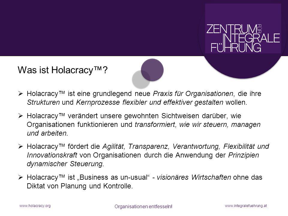 www.holacracy.org Organisationen entfesseln! Holacracy ist eine grundlegend neue Praxis für Organisationen, die ihre Strukturen und Kernprozesse flexi