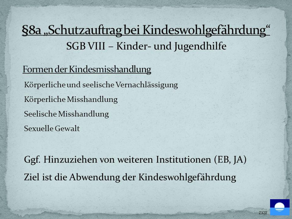 SGB VIII – Kinder- und Jugendhilfe ZKJF Körperliche und seelische Vernachlässigung Körperliche Misshandlung Seelische Misshandlung Sexuelle Gewalt Ggf