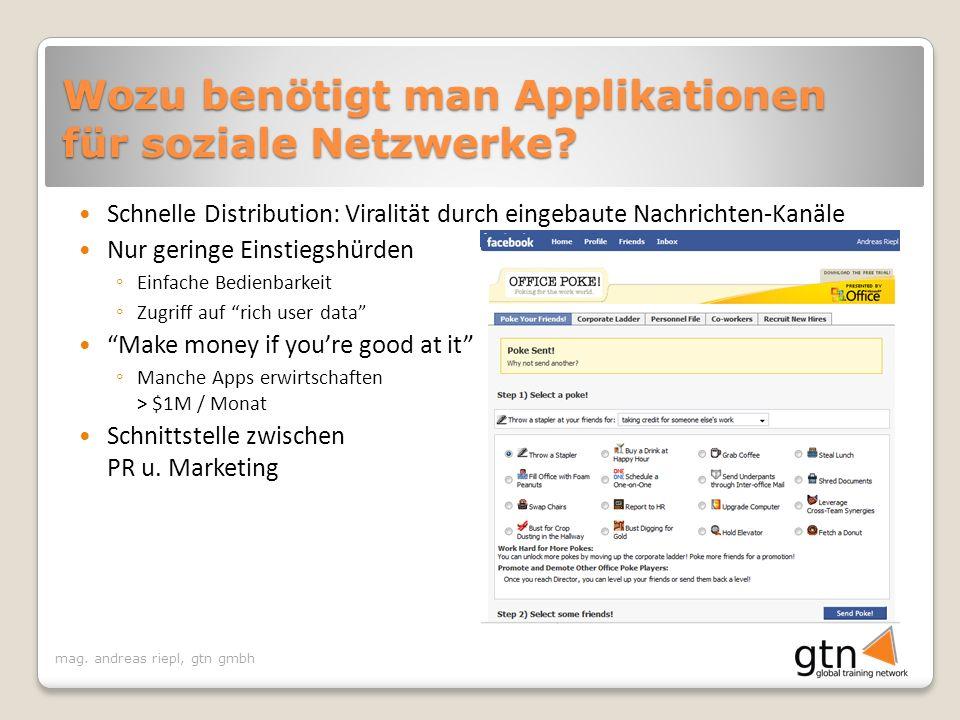 mag. andreas riepl, gtn gmbh Wozu benötigt man Applikationen für soziale Netzwerke.