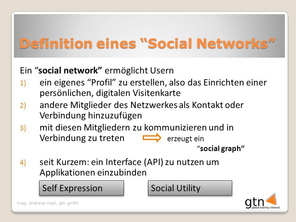 mag. andreas riepl, gtn gmbh Definition eines Social Networks Ein social network ermöglicht Usern 1) ein eigenes Profil zu erstellen, also das Einrich