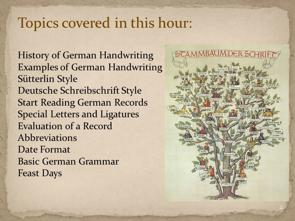 Topics covered in this hour: History of German Handwriting Examples of German Handwriting Sütterlin Style Deutsche Schreibschrift Style Start Reading