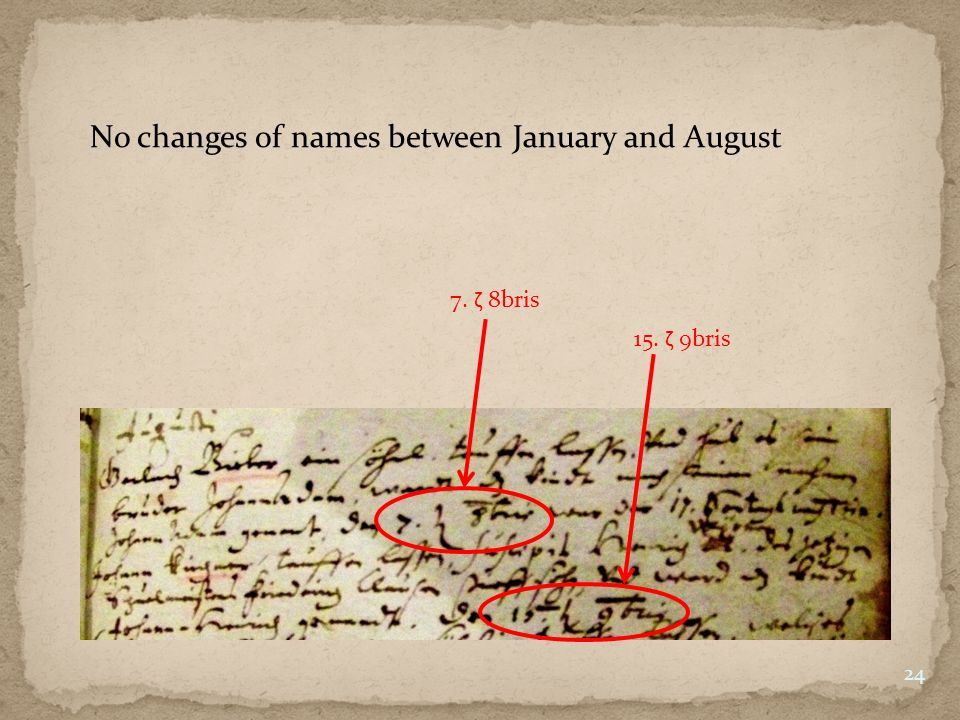 7. ζ 8bris 15. ζ 9bris No changes of names between January and August 24
