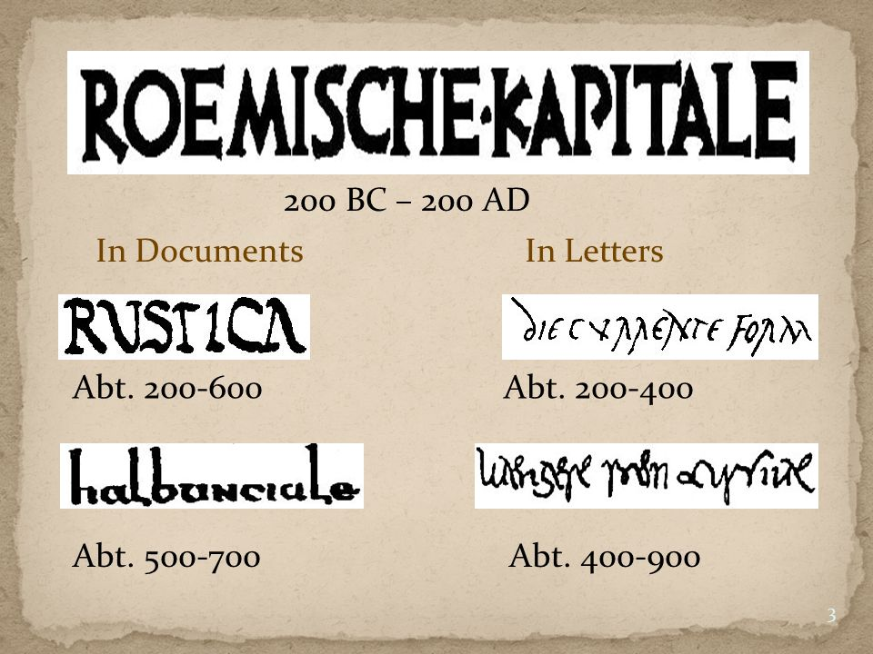 200 BC – 200 AD In Documents In Letters Abt. 200-600 Abt. 200-400 Abt. 500-700 Abt. 400-900 3