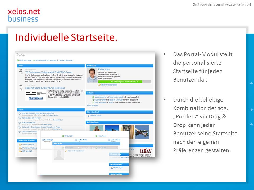 Ein Produkt der blueend web:applications AG Individuelle Startseite.