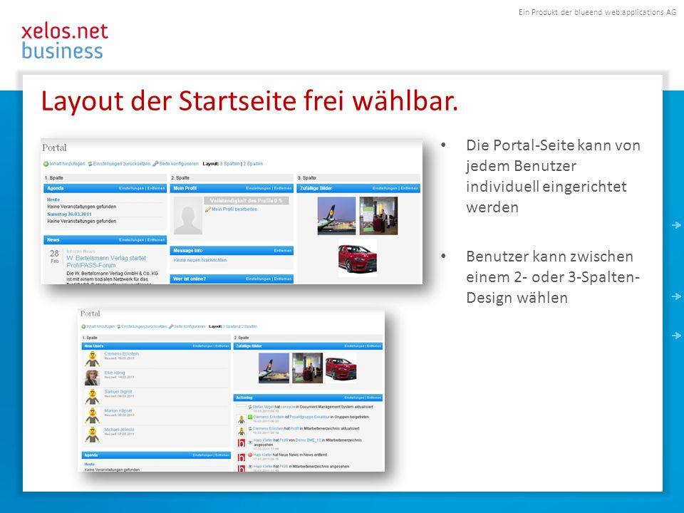 Ein Produkt der blueend web:applications AG Layout der Startseite frei wählbar.