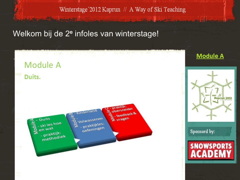 Welkom bij de 2 e infoles van winterstage! Module A Duits.