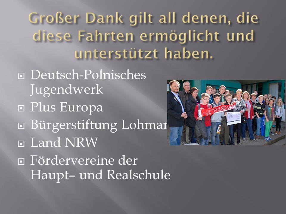 Deutsch-Polnisches Jugendwerk Plus Europa Bürgerstiftung Lohmar Land NRW Fördervereine der Haupt– und Realschule