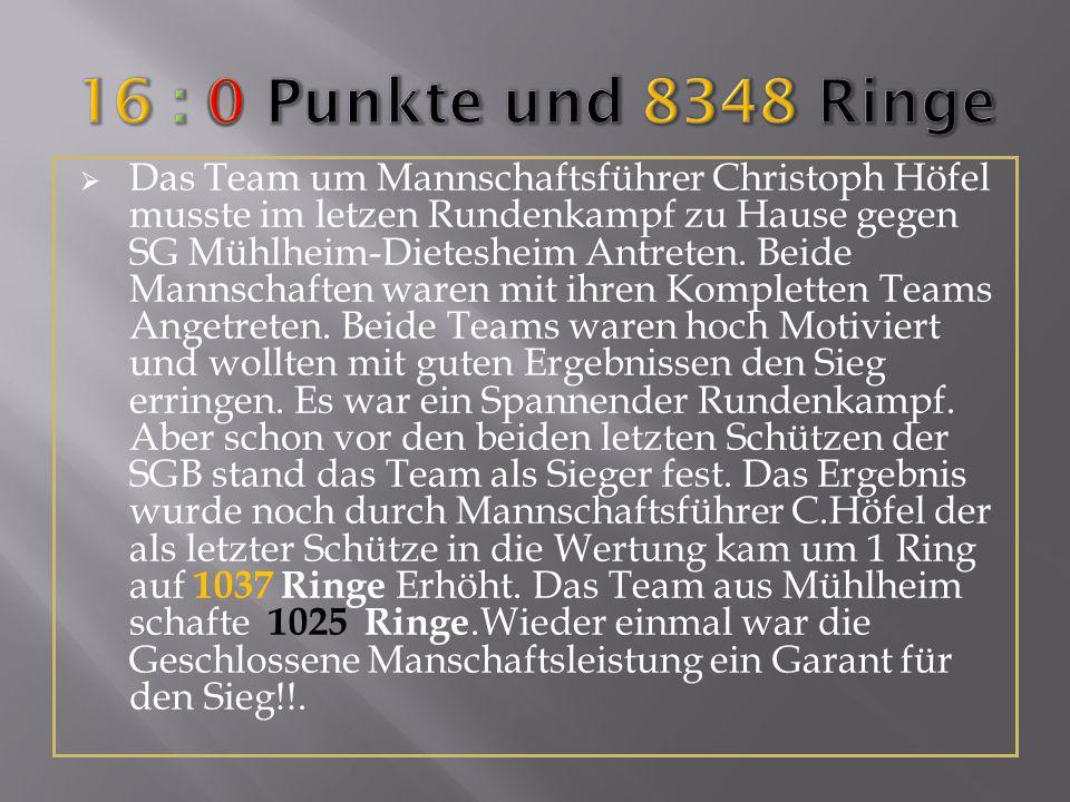 Das Team um Mannschaftsführer Christoph Höfel musste im letzen Rundenkampf zu Hause gegen SG Mühlheim-Dietesheim Antreten. Beide Mannschaften waren mi