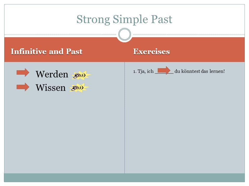 Infinitive and Past Exercises Werden Wissen 1.Tja, ich ______ du könntest das lernen.