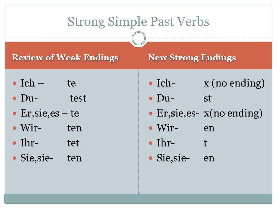 Review of Weak Endings New Strong Endings Ich – te Du- test Er,sie,es – te Wir-ten Ihr-tet Sie,sie-ten Ich-x (no ending) Du-st Er,sie,es- x(no ending) Wir-en Ihr-t Sie,sie-en Strong Simple Past Verbs