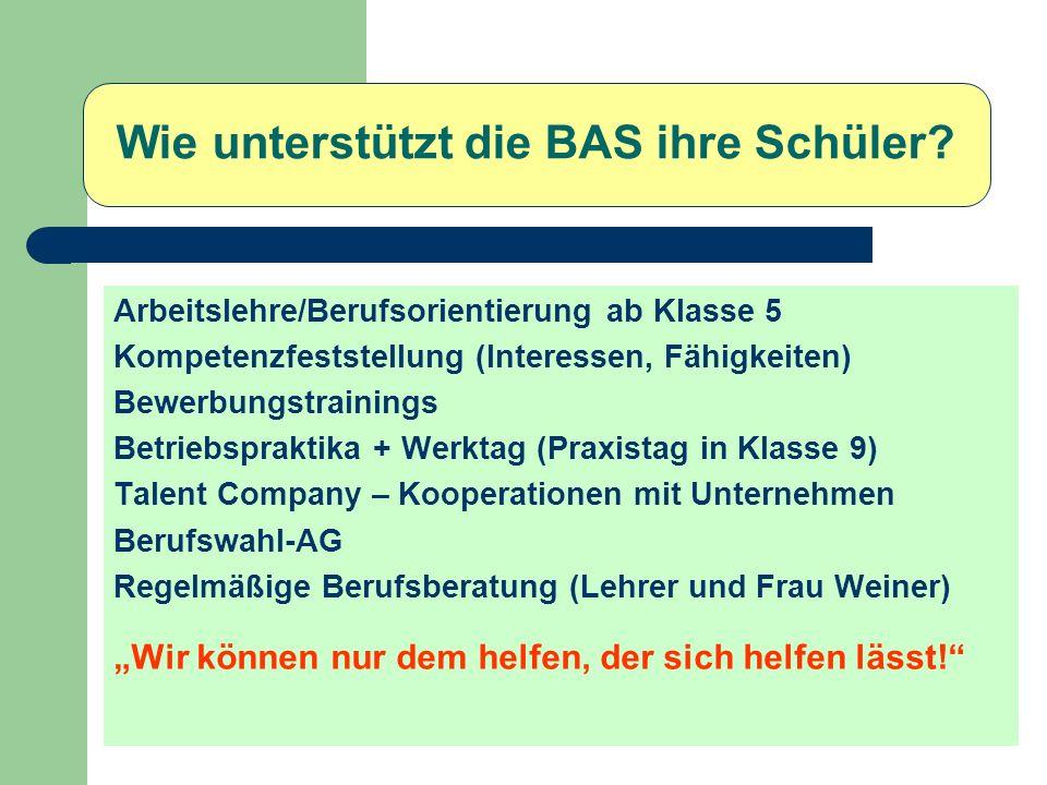 Wie unterstützt die BAS ihre Schüler? Arbeitslehre/Berufsorientierung ab Klasse 5 Kompetenzfeststellung (Interessen, Fähigkeiten) Bewerbungstrainings