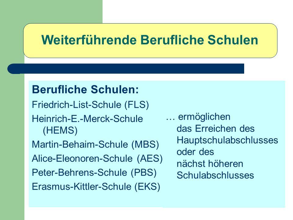 Weiterführende Berufliche Schulen Berufliche Schulen: Friedrich-List-Schule (FLS) Heinrich-E.-Merck-Schule (HEMS) Martin-Behaim-Schule (MBS) Alice-Ele