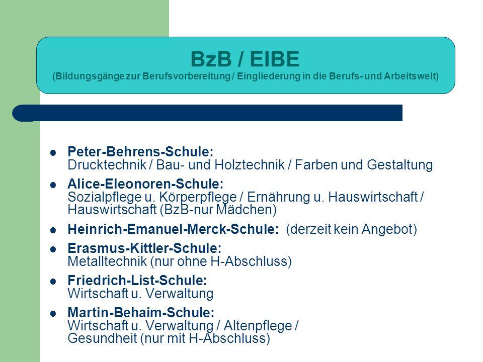 BzB / EIBE (Bildungsgänge zur Berufsvorbereitung / Eingliederung in die Berufs- und Arbeitswelt) Peter-Behrens-Schule: Drucktechnik / Bau- und Holztec