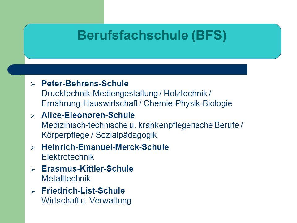 Berufsfachschule (BFS) Peter-Behrens-Schule Drucktechnik-Mediengestaltung / Holztechnik / Ernährung-Hauswirtschaft / Chemie-Physik-Biologie Alice-Eleo