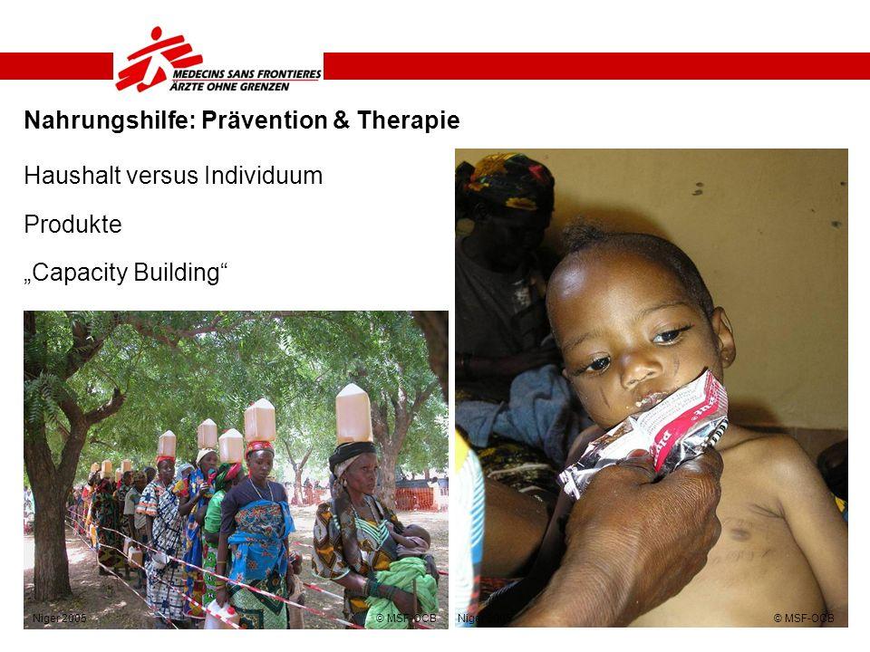 Nahrungshilfe: Prävention & Therapie Haushalt versus Individuum Produkte Capacity Building Niger 2005 © MSF-OCB