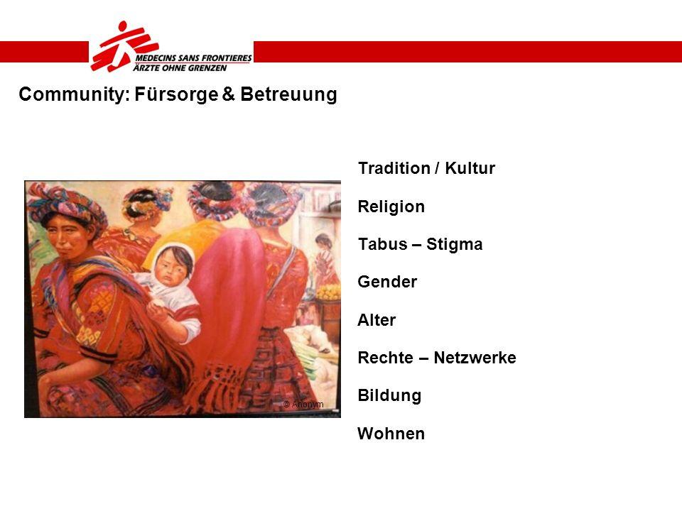 Community: Fürsorge & Betreuung Tradition / Kultur Religion Tabus – Stigma Gender Alter Rechte – Netzwerke Bildung Wohnen © Anonym