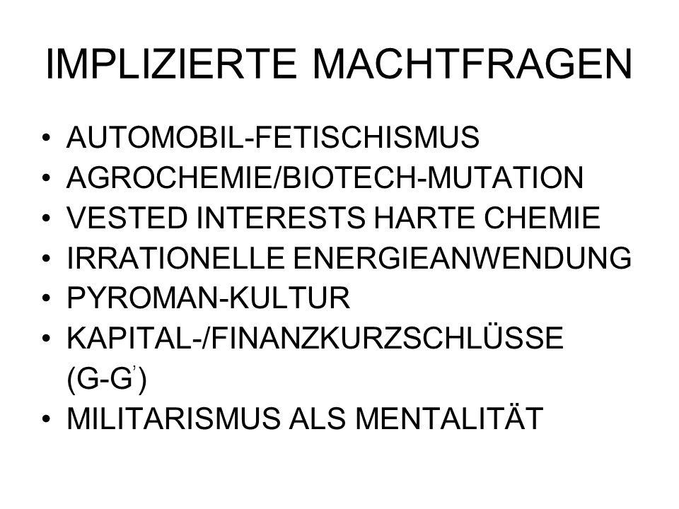 IMPLIZIERTE MACHTFRAGEN AUTOMOBIL-FETISCHISMUS AGROCHEMIE/BIOTECH-MUTATION VESTED INTERESTS HARTE CHEMIE IRRATIONELLE ENERGIEANWENDUNG PYROMAN-KULTUR KAPITAL-/FINANZKURZSCHLÜSSE (G-G ) MILITARISMUS ALS MENTALITÄT