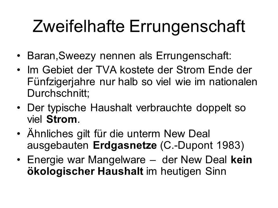 Zweifelhafte Errungenschaft Baran,Sweezy nennen als Errungenschaft: Im Gebiet der TVA kostete der Strom Ende der Fünfzigerjahre nur halb so viel wie im nationalen Durchschnitt; Der typische Haushalt verbrauchte doppelt so viel Strom.