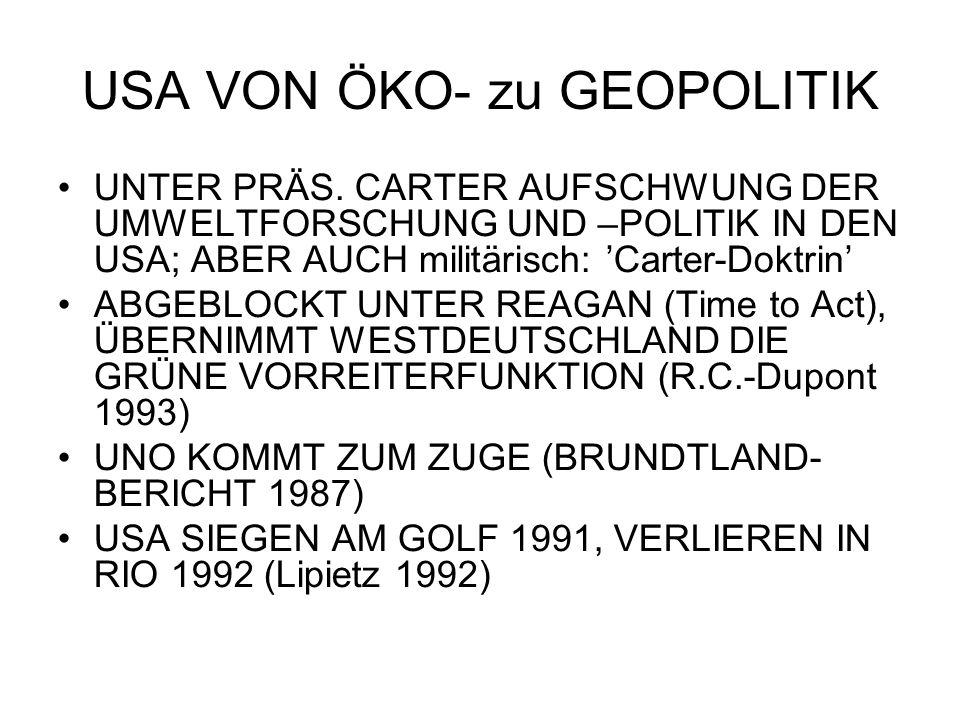 USA VON ÖKO- zu GEOPOLITIK UNTER PRÄS.