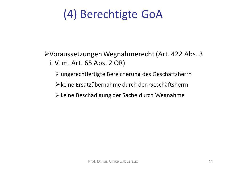 Prof. Dr. iur. Ulrike Babusiaux 14 Voraussetzungen Wegnahmerecht (Art. 422 Abs. 3 i. V. m. Art. 65 Abs. 2 OR) ungerechtfertigte Bereicherung des Gesch