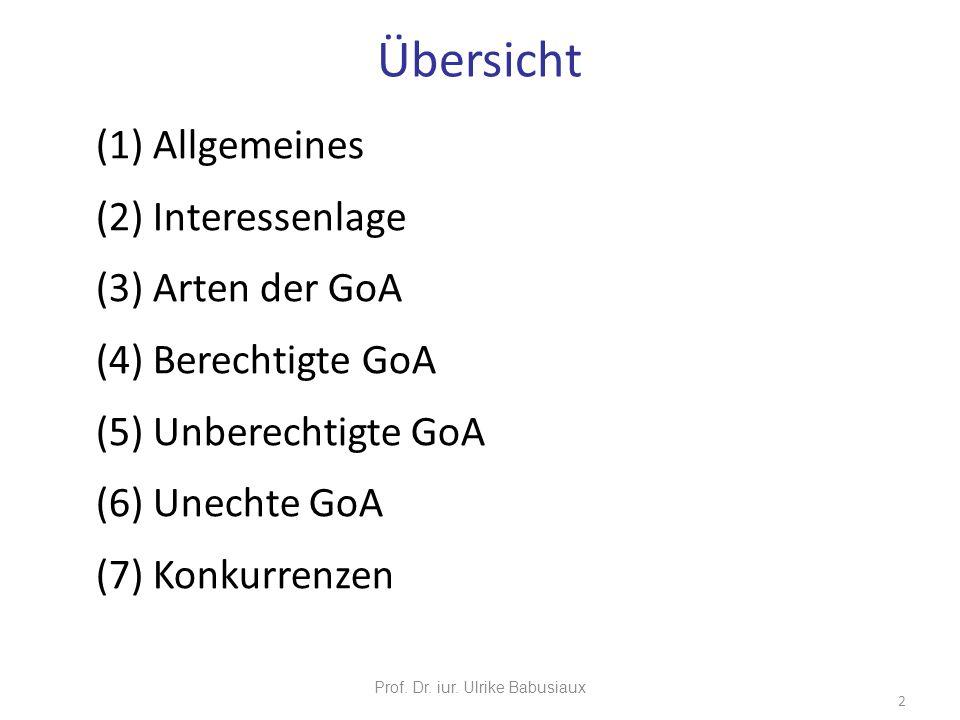 (1) Allgemeines (2) Interessenlage (3) Arten der GoA (4) Berechtigte GoA (5) Unberechtigte GoA (6) Unechte GoA (7) Konkurrenzen Prof. Dr. iur. Ulrike