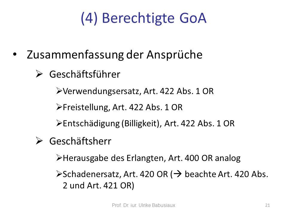 Zusammenfassung der Ansprüche Geschäftsführer Verwendungsersatz, Art. 422 Abs. 1 OR Freistellung, Art. 422 Abs. 1 OR Entschädigung (Billigkeit), Art.