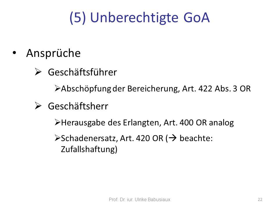 Ansprüche Geschäftsführer Abschöpfung der Bereicherung, Art. 422 Abs. 3 OR Geschäftsherr Herausgabe des Erlangten, Art. 400 OR analog Schadenersatz, A