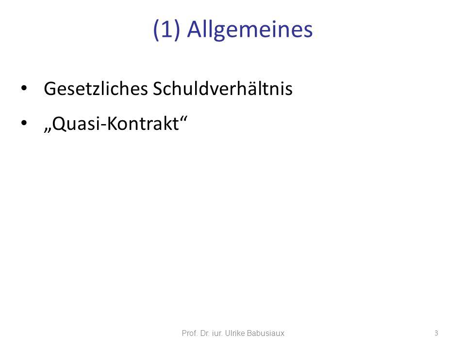 Gesetzliches Schuldverhältnis Quasi-Kontrakt Prof. Dr. iur. Ulrike Babusiaux 3 (1) Allgemeines