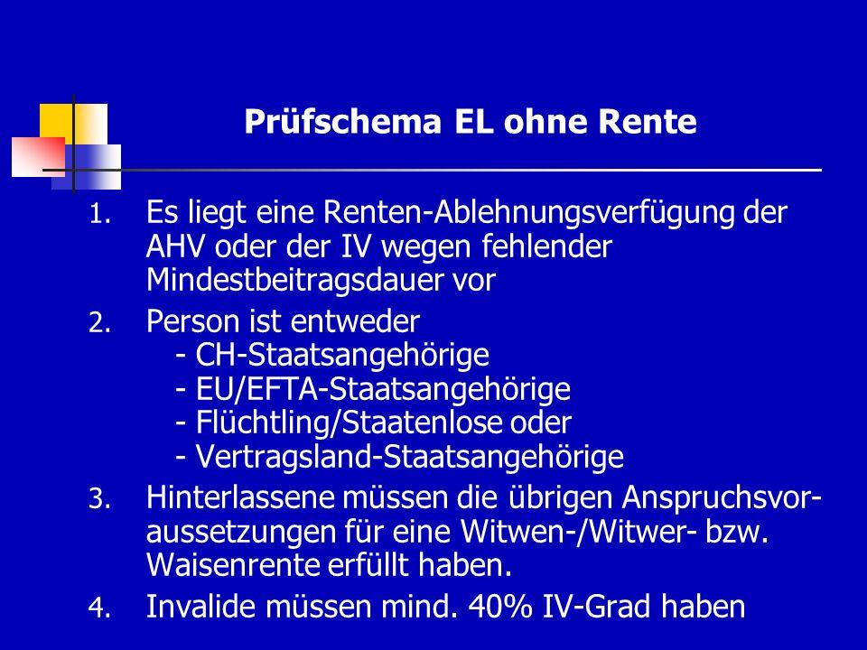 Prüfschema EL ohne Rente 1. Es liegt eine Renten-Ablehnungsverfügung der AHV oder der IV wegen fehlender Mindestbeitragsdauer vor 2. Person ist entwed
