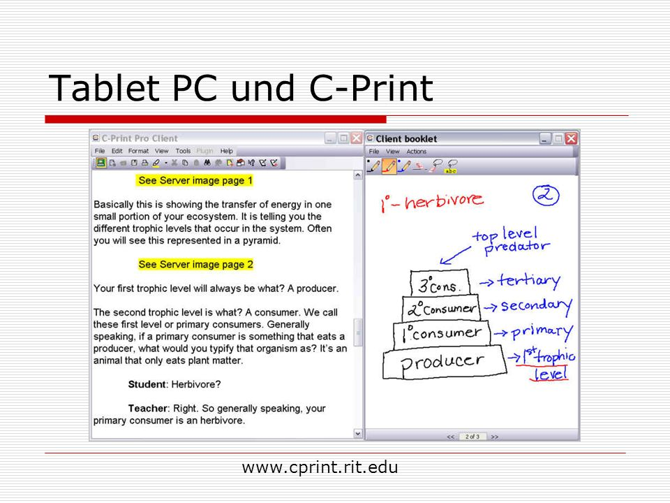 Tablet PC und C-Print www.cprint.rit.edu