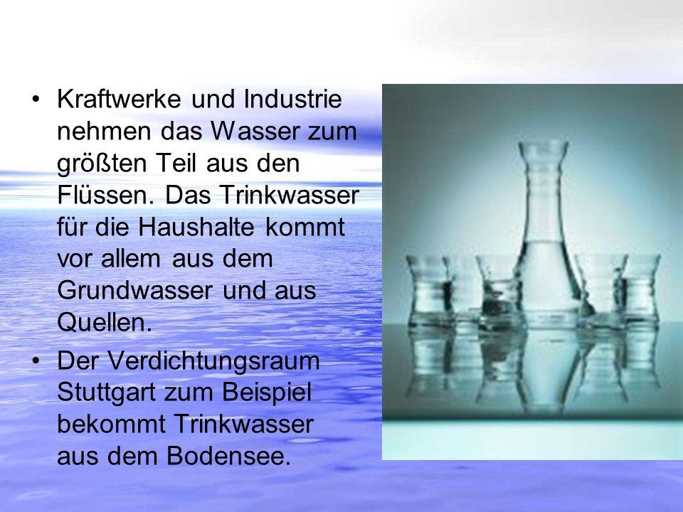 Kraftwerke und Industrie nehmen das Wasser zum größten Teil aus den Flüssen. Das Trinkwasser für die Haushalte kommt vor allem aus dem Grundwasser und