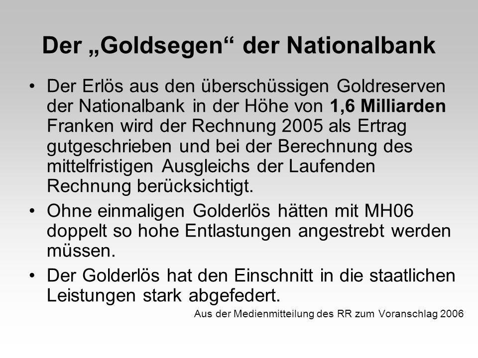 Der Goldsegen der Nationalbank Der Erlös aus den überschüssigen Goldreserven der Nationalbank in der Höhe von 1,6 Milliarden Franken wird der Rechnung 2005 als Ertrag gutgeschrieben und bei der Berechnung des mittelfristigen Ausgleichs der Laufenden Rechnung berücksichtigt.