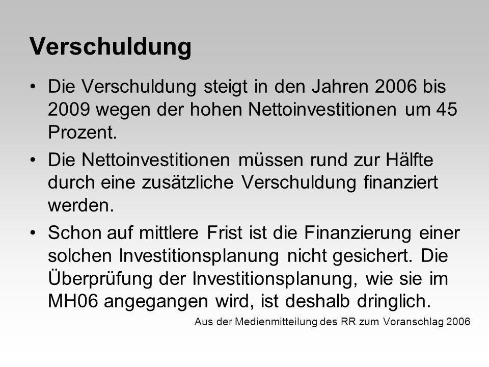 Verschuldung Die Verschuldung steigt in den Jahren 2006 bis 2009 wegen der hohen Nettoinvestitionen um 45 Prozent. Die Nettoinvestitionen müssen rund