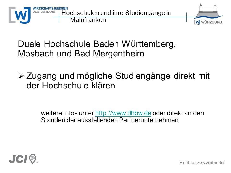 Erleben was verbindet Duale Hochschule Baden Württemberg, Mosbach und Bad Mergentheim Zugang und mögliche Studiengänge direkt mit der Hochschule kläre