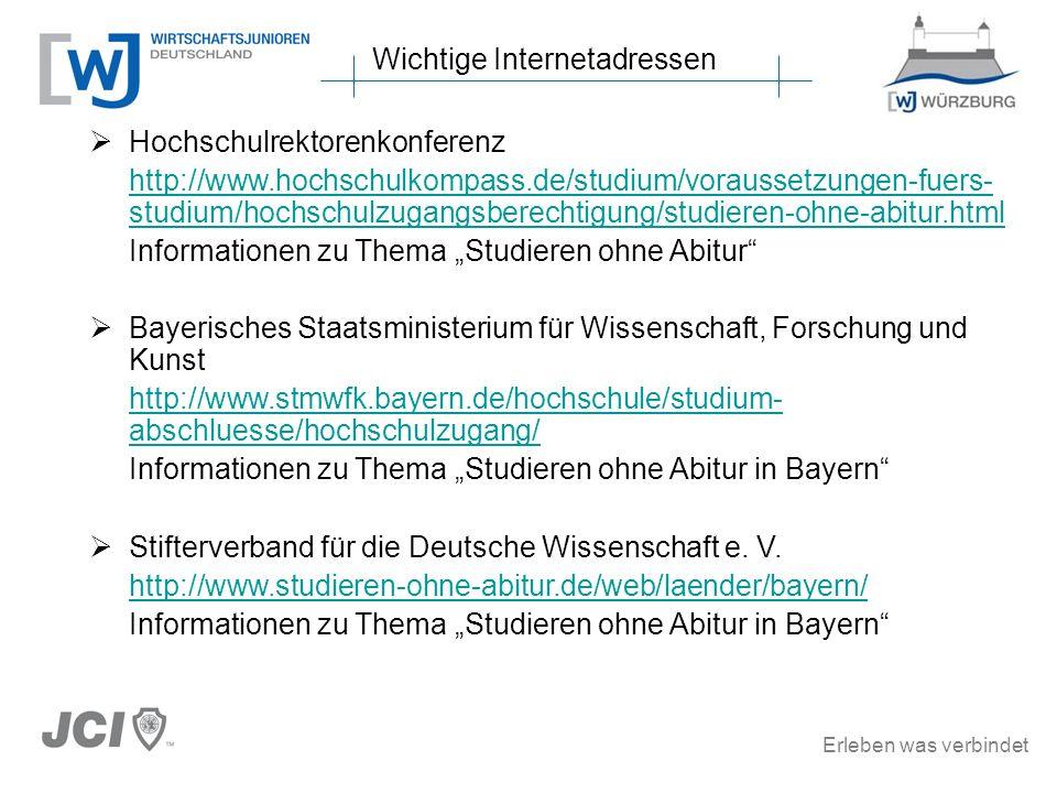 Erleben was verbindet Hochschulrektorenkonferenz http://www.hochschulkompass.de/studium/voraussetzungen-fuers- studium/hochschulzugangsberechtigung/st