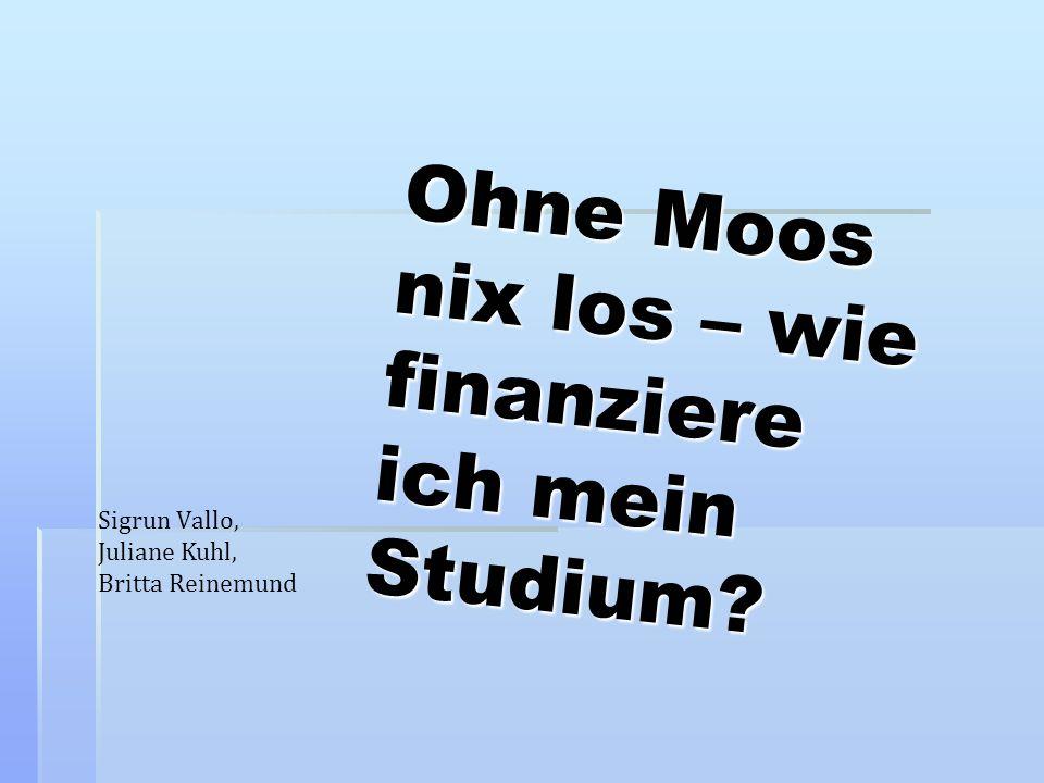 Ohne Moos nix los – wie finanziere ich mein Studium? Sigrun Vallo, Juliane Kuhl, Britta Reinemund