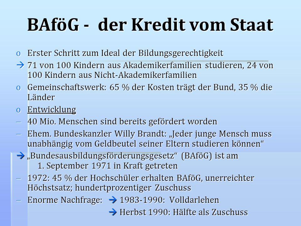 BAföG - der Kredit vom Staat oErster Schritt zum Ideal der Bildungsgerechtigkeit 71 von 100 Kindern aus Akademikerfamilien studieren, 24 von 100 Kinde
