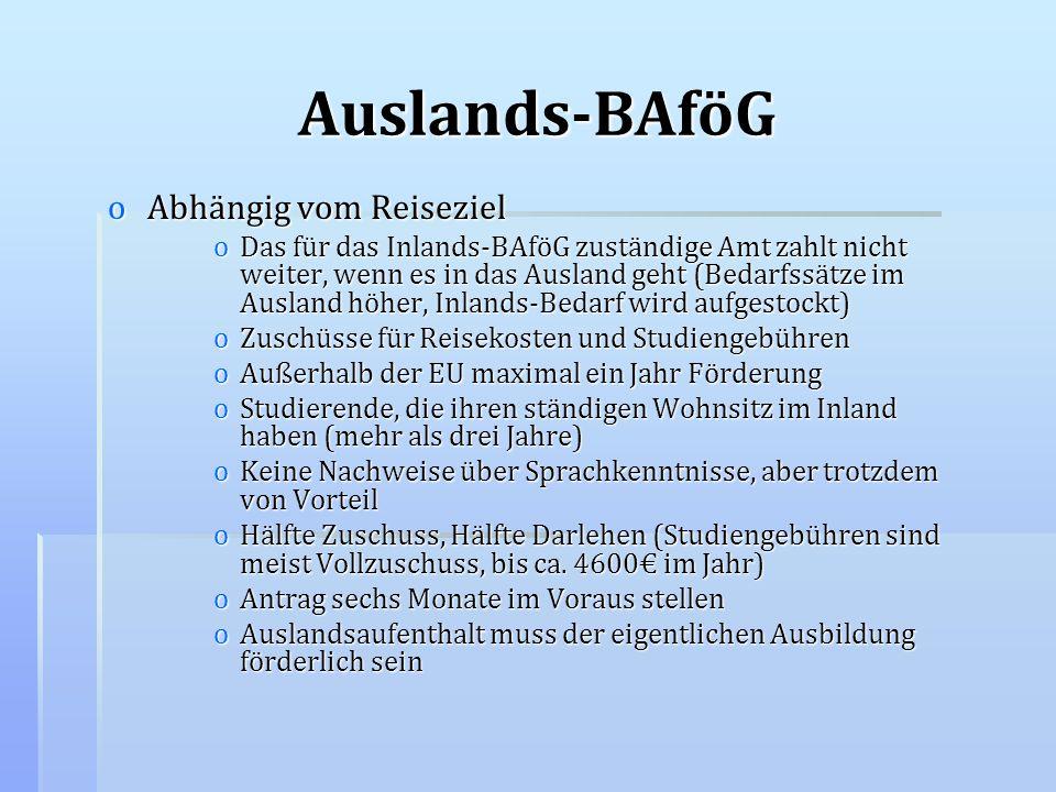 Auslands-BAföG oAbhängig vom Reiseziel oDas für das Inlands-BAföG zuständige Amt zahlt nicht weiter, wenn es in das Ausland geht (Bedarfssätze im Ausl