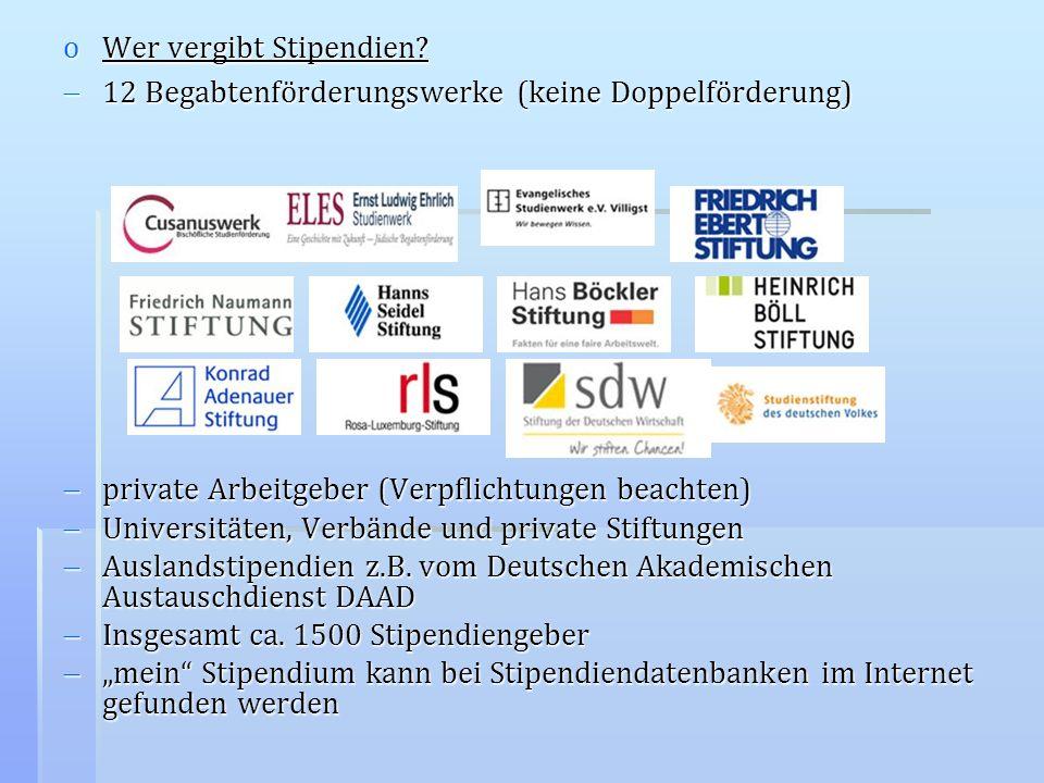 oWer vergibt Stipendien? 12 Begabtenförderungswerke (keine Doppelförderung) 12 Begabtenförderungswerke (keine Doppelförderung) private Arbeitgeber (Ve