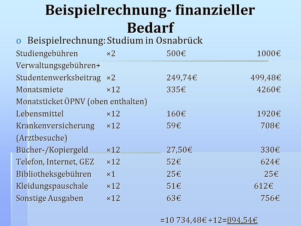 Beispielrechnung- finanzieller Bedarf oBeispielrechnung: Studium in Osnabrück Studiengebühren×25001000 Verwaltungsgebühren+ Studentenwerksbeitrag×2249